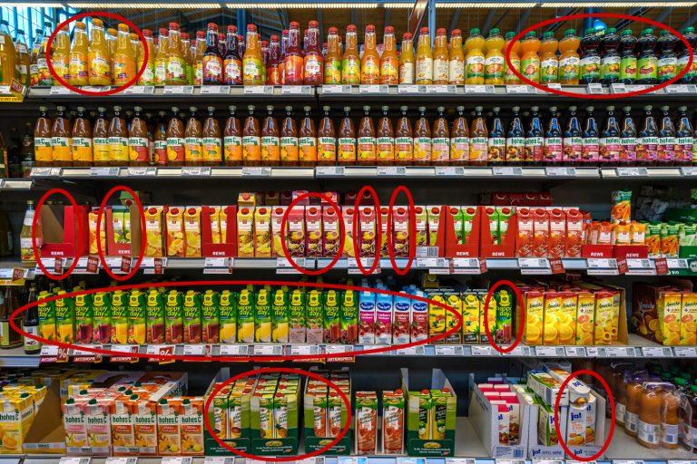 Saftschwindel im Supermarkt