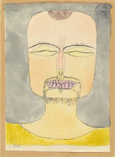 Paul Klee, nach der Zeichnung 19/75 [Versunkenheit], 1919 Lithografie, 1. Zustand, aquarelliert, 22,2 x 16 cm Zentrum Paul Klee, Bern, Schenkung Livia Klee © Zentrum Paul Klee, Bern, Bildarchiv