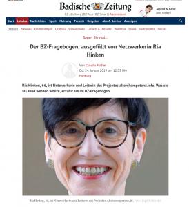 Screenshot Badische Zeitung vom 24.01.2019