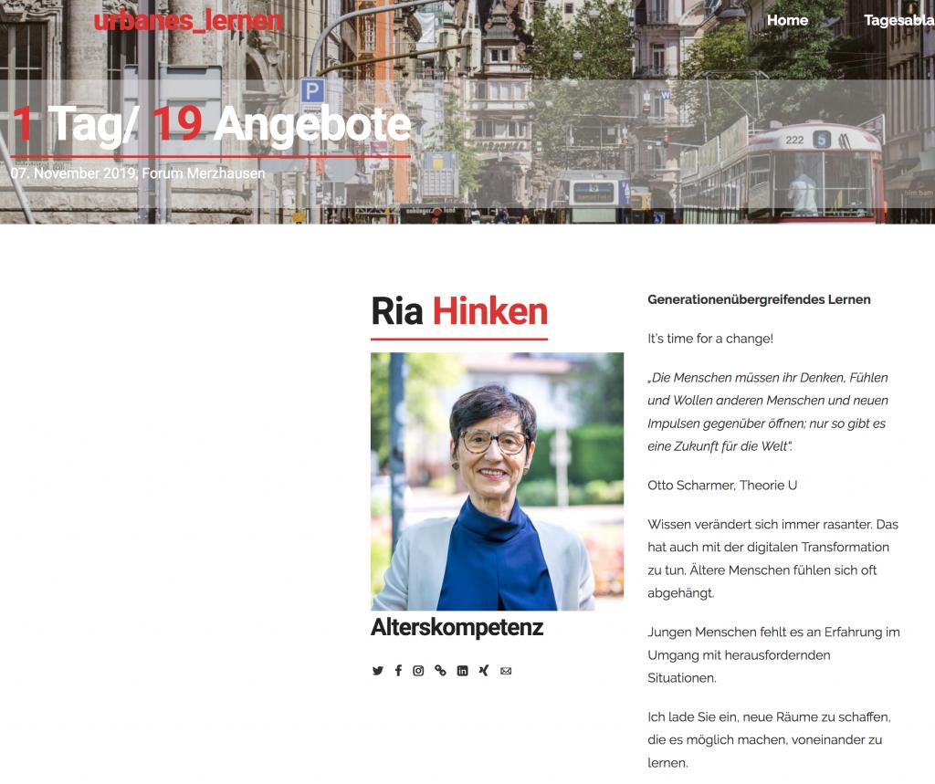 Screenshot der Homepage Urbanes Lernen