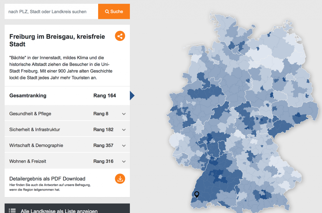 Foto zeigt die Ergebnisse für Freiburg