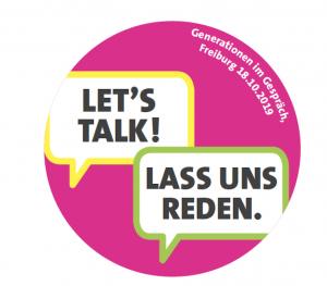 Gezeigt wird der pinkfarbene Button mit der Aufschrift Let's talk! Lass uns reden!