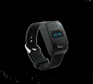 Foto zeigt die Notruf-Watch. Eine Uhr, die man sowohl zu Hause als auch unterwegs nutzen kann, wenn man Hilfe braucht.
