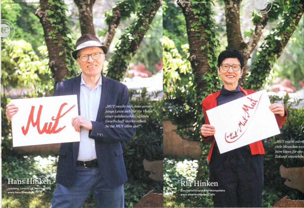 Ria & Hans Hinken mit ihrem MUT TUT GUT Plakat