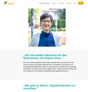 Screenshot von der Website fobizz mit dem Interview von Ria Hinken