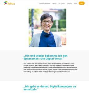 Screenshot von der Website fobizz mit dem Interview von Ria Hinken