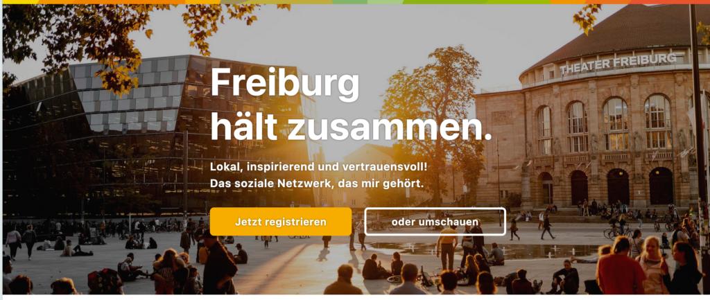 Screenshot der Website #freiburghältzusammen
