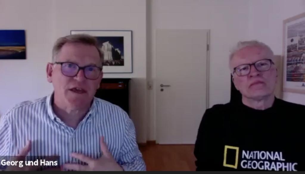 Das Foto ist ein Screenshot von Georg Kauf und Hans Hinken im Online-Talk