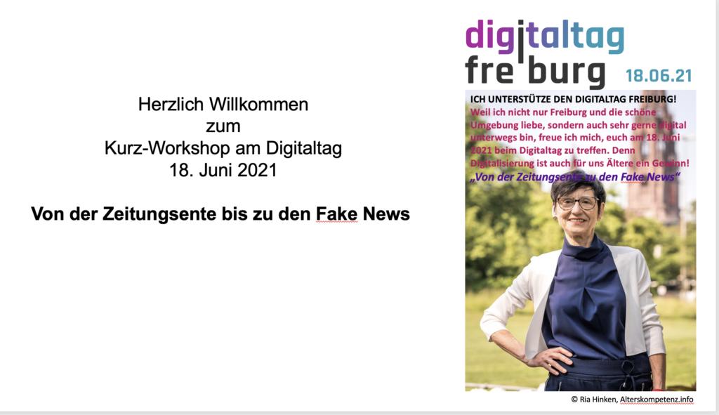 """Screenshot Digitaltag Freiburg """"von der Zeitungsente zu den Fake News"""" mir Ria Hinken"""